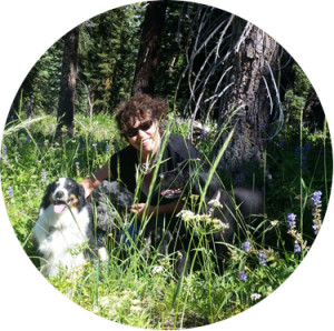 Linden Gross and dogs in lupine
