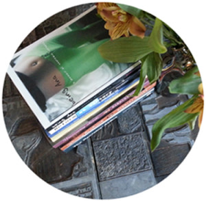 books flowers on printing plate table rc